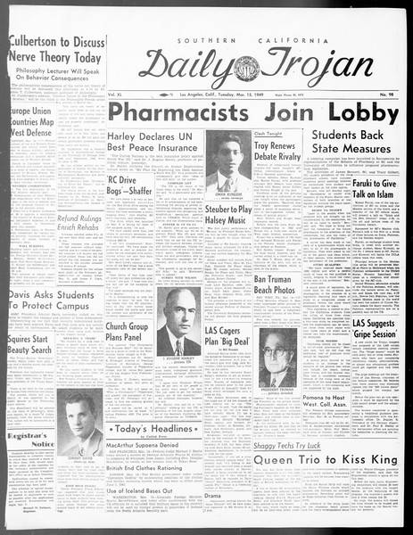 Daily Trojan, Vol. 40, No. 98, March 15, 1949