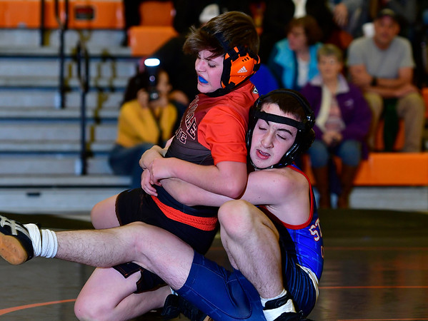 1/9/2019 Mike Orazzi | Staff St. Paul's Daniel Kelly and Terryville's Nick Rossi in a 106 match at Terryville High School Wednesday night.