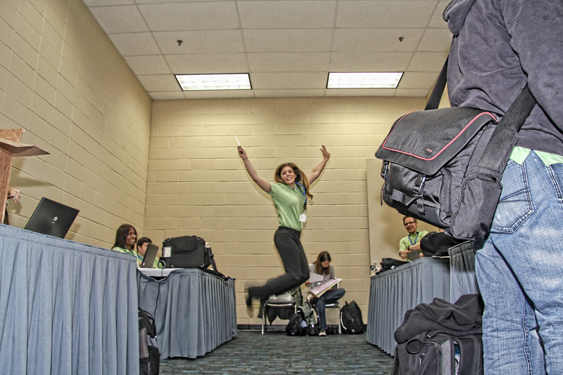 Marcy Jumps in Speaker Room, Bag In the Way