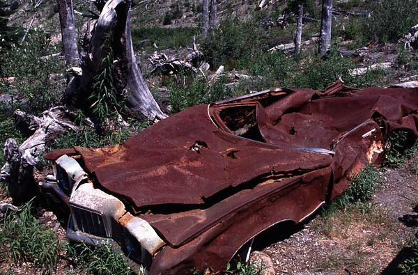 This Pontiac car was damaged in the May 18, 1980 volcanic eruption of Mount St. Helens.  This photo was made on July 12, 2004.