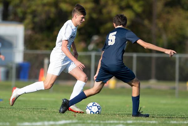 10/15/19 Wesley Bunnell | StaffrrPlainville boys soccer defeated host Newington 2-1 on Tuesday afternoon. Patrick Gryczewski (10) and Davis Basha (5).