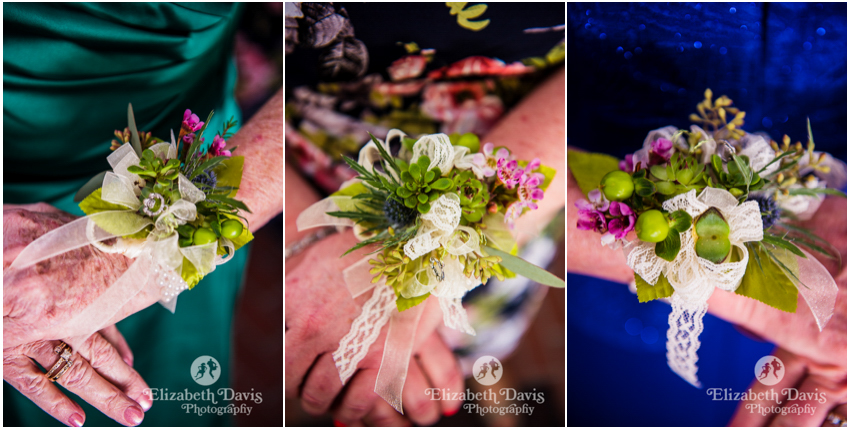 Irish Countryside wedding in Tallahassee | gorgeous lacey corsages for mother and aunts | Elizabeth Davis Photography