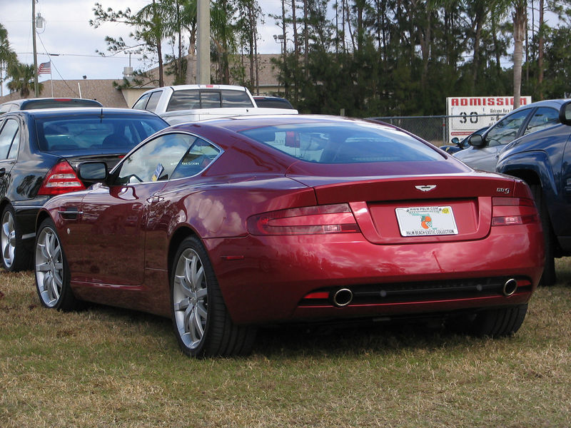 Aston Martin DB9 in the parking lot at Moroso Motorsports Park during a Ferrari event