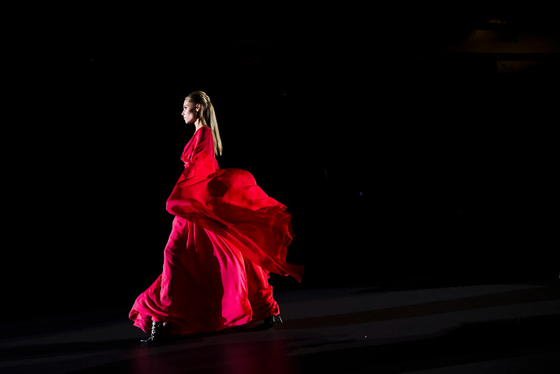. A model displays a Spring/Summer 2015 design by Hannibal Laguna during the young designers show at Madrid\'s Fashion Week in Madrid, Spain, Monday, Sept. 15, 2014 . (AP Photo/Daniel Ochoa de Olza)