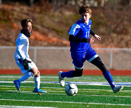 11/13/2019 Mike Orazzi | StaffrBristol Eastern's Luke Hammer (11) during the Class L Second Round boys soccer tournament with Bunnell High School in Bristol on Wednesday.