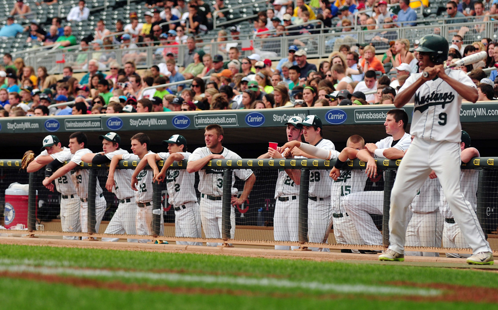 . Mounds View players watch the action toward the end of the game. On deck at right is outfielder Alec Abercrombie.  (Pioneer Press: Scott Takushi)
