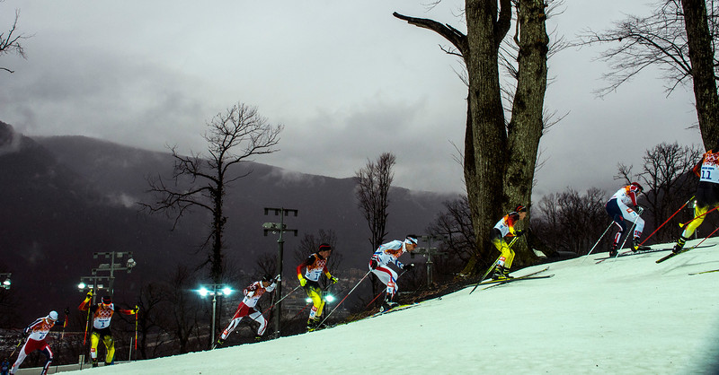 . Racers compete in the Nordic combined 10km cross-country ski competition at the Gorki Ski Jumping Center during the 2014 Sochi Olympics Tuesday February 18, 2014. (Photo by Chris Detrick/The Salt Lake Tribune)