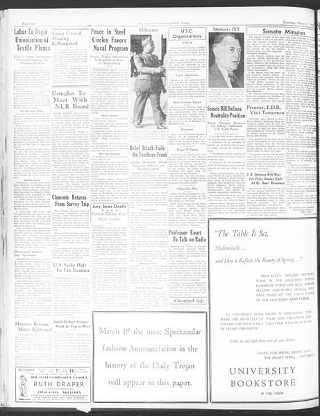 Daily Trojan, Vol. 28, No. 91, March 04, 1937