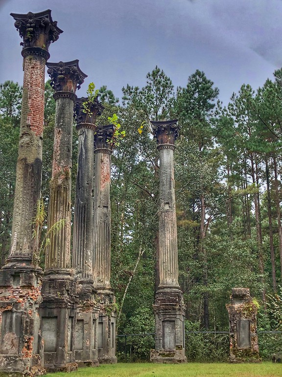 Columns stand on a site that used to be a plantation house near the Natchez Trace.