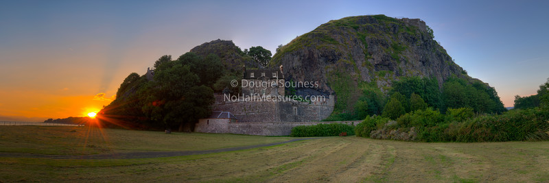 'Dumbarton Rock'  10 August 2012 - dating back to the middle ages and undergoing repairs to the 17th & 18th century garrison. Dumbarton, Scotland
