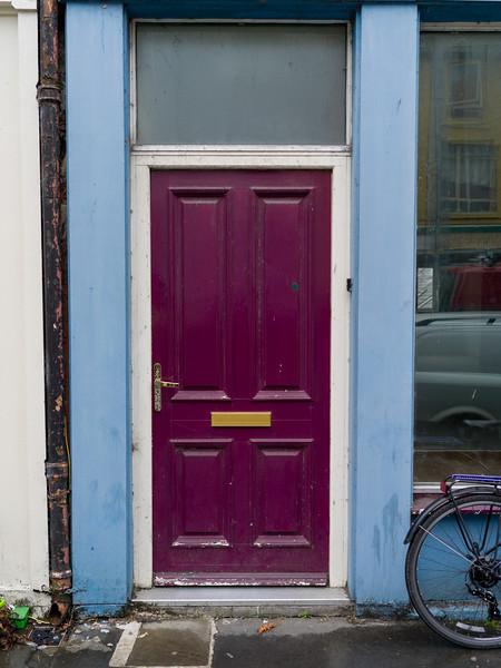 View of a magenta color door, Ennistimon, County Clare, Ireland