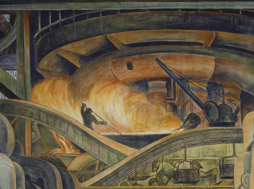 . Detroit Industry, north wall (detail), Diego Rivera, 1932-33, fresco. Detroit Institute of Arts (blast furnace)