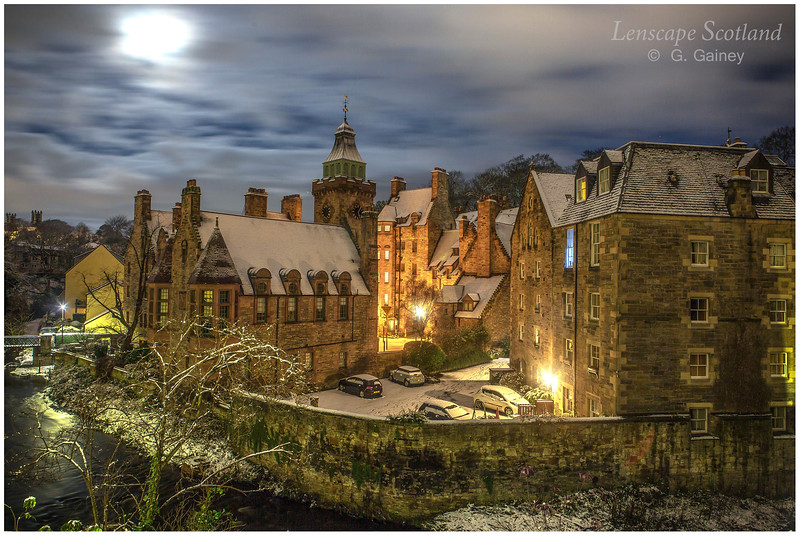 Dean Village in the snow, at night (1)