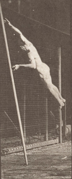 Nude man jumping and pole-vaulting