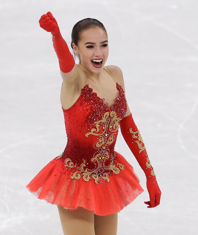 . Alina Zagitova of the Olympic Athletes of Russia reacts following her performance during the women\'s free figure skating final in the Gangneung Ice Arena at the 2018 Winter Olympics in Gangneung, South Korea, Friday, Feb. 23, 2018. (AP Photo/Petr David Josek)