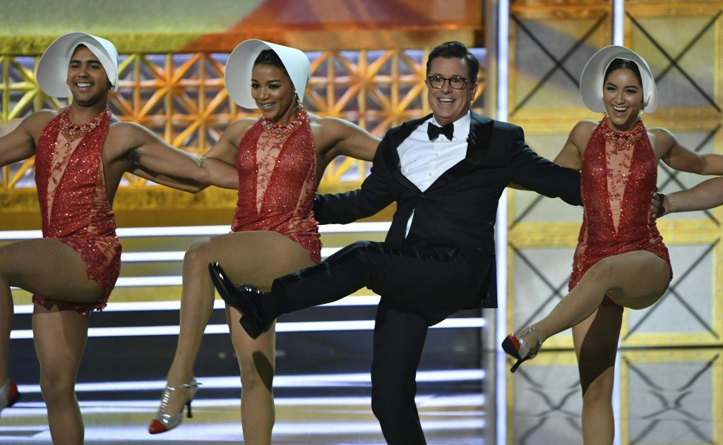 . Host Stephen Colbert dances onstage during the 69th Emmy Awards at the Microsoft Theatre on September 17, 2017 in Los Angeles, California. (FREDERIC J. BROWN/AFP/Getty Images)