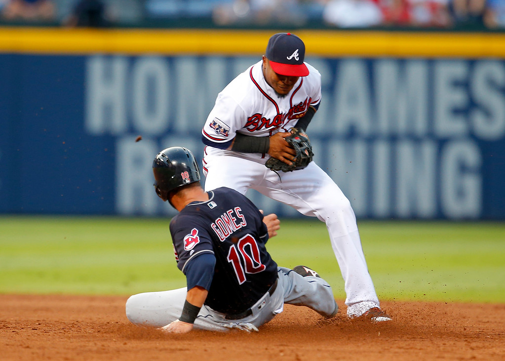 . Atlanta Braves shortstop Erick Aybar fields a force out at second as Cleveland Indians\' Yan Gomes (10) slide during the fifth inning of a baseball game Wednesday, June 29, 2016, in Atlanta. (AP Photo/Todd Kirkland)