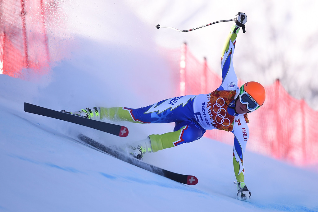 . Slovenia\'s Marusa Ferk skis during the Women\'s Alpine Skiing Downhill at the Rosa Khutor Alpine Center during the Sochi Winter Olympics on February 12, 2014.    AFP PHOTO / FABRICE COFFRINI/AFP/Getty Images