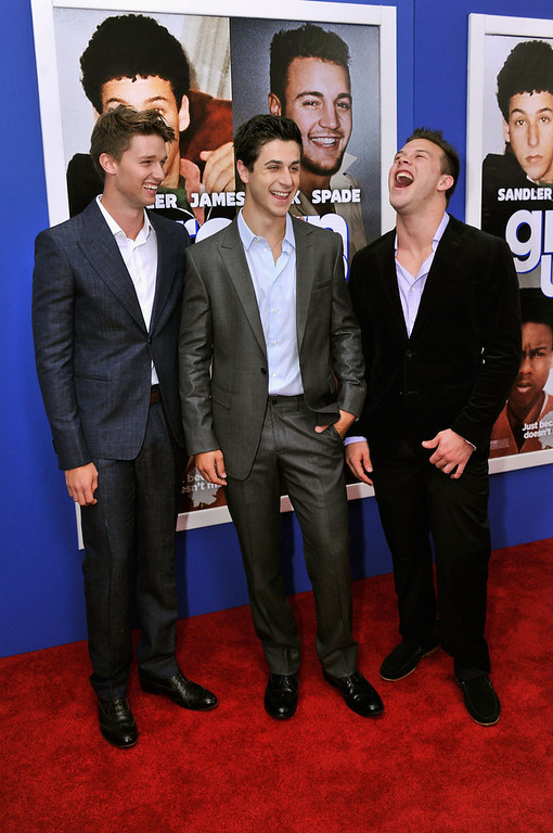 """. Patrick Schwarzenegger, David Henrie, and Jimmy Tatro attend the \""""Grown Ups 2\"""" New York Premiere at AMC Lincoln Square Theater on July 10, 2013 in New York City.  (Photo by Stephen Lovekin/Getty Images)"""
