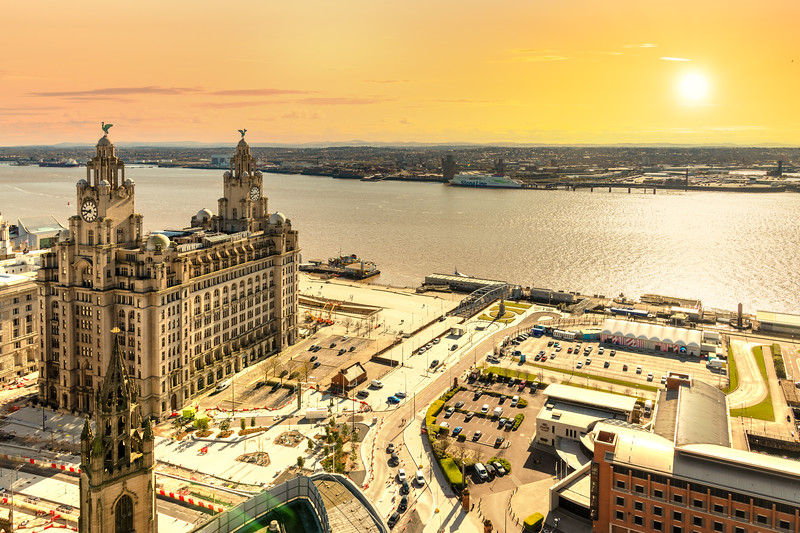 Sunset over Liverpool and the River Mersey