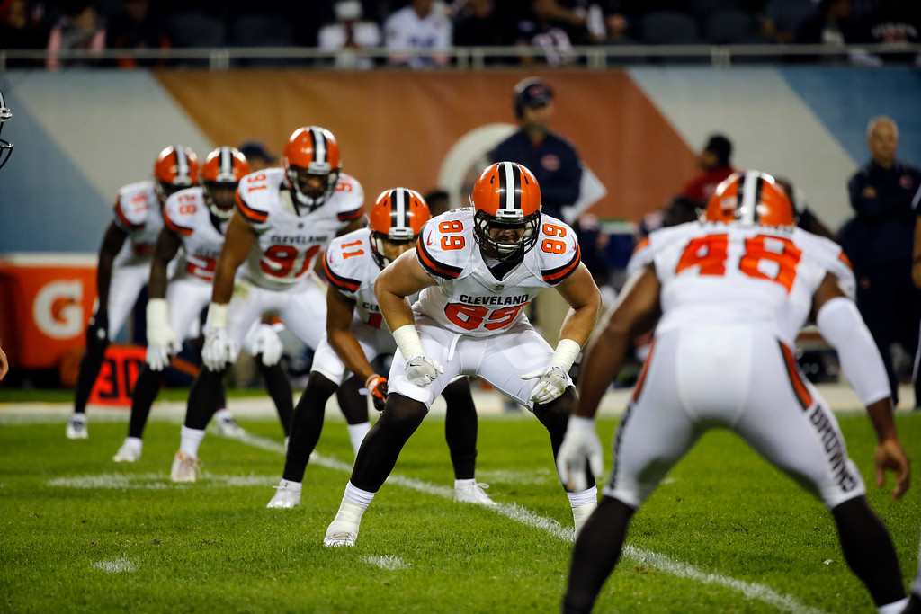 . Cleveland Browns\' Taylor McNamara (89) lines up for kickoff during the second half of an NFL preseason football game against the Chicago Bears, Thursday, Aug. 31, 2017, in Chicago. (AP Photo/Charles Rex Arbogast)