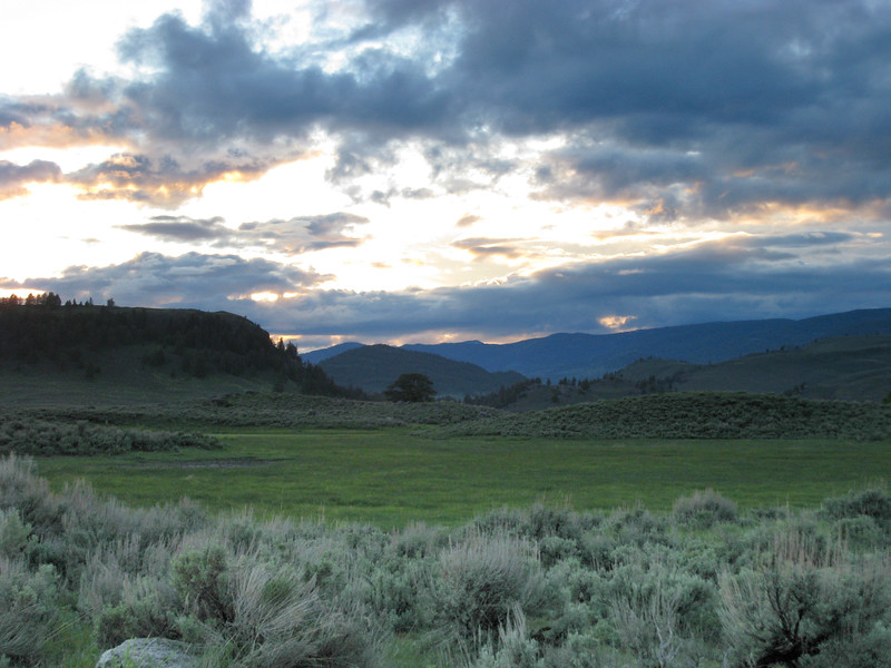 Sunset over the Lamar Valley, Junction Butte is on the left.