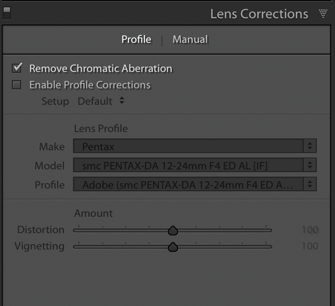 The Lens Corrections Profile tab with the Remove Chromatic Aberration marked