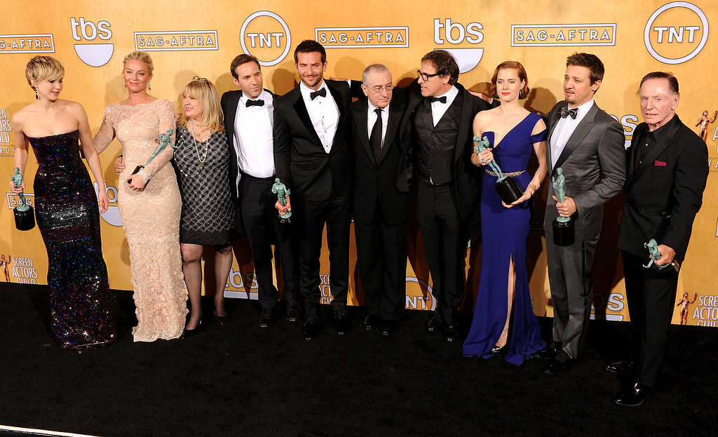 . The cast of American Hustle backstage at the 20th Annual Screen Actors Guild Awards  at the Shrine Auditorium in Los Angeles, California on Saturday January 18, 2014 (Photo by John McCoy / Los Angeles Daily News)