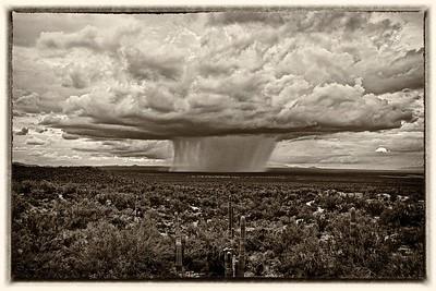 Monsoon over Avra Valley - Sepia