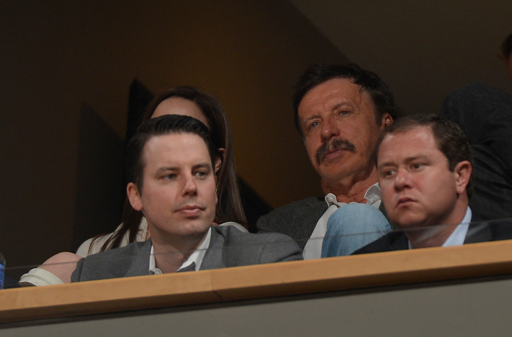 . DENVER, CO - JANUARY 14: Josh Kroenke, President and Governor of the Denver Nuggets watches from his box with his dad Stan Kroenke, Kroenke Sports Enterprises, against the Dallas Mavericks January 14, 2015 at Pepsi Center. (Photo By John Leyba/The Denver Post)