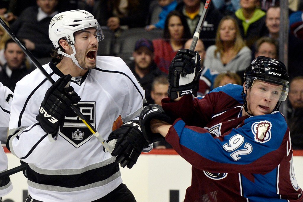 . DENVER, CO. - JANUARY 22: Los Angeles Kings defenseman Drew Doughty (8) shouts out as he is covered by Colorado Avalanche left wing Gabriel Landeskog (92)  during the first period. The Colorado Avalanche hosted the Los Angeles Kings at the Pepsi Center on January, 22, 2013.   (Photo By John Leyba / The Denver Post)