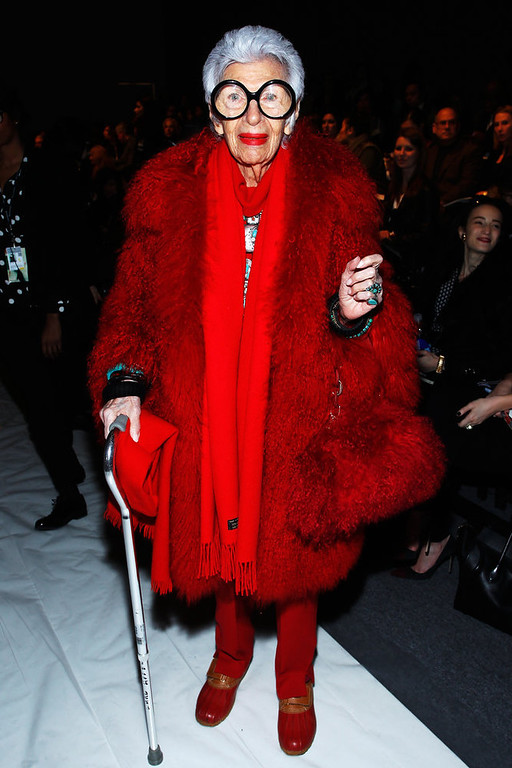 . Iris Apfel attends the Joanna Mastroianni Fall 2013 fashion show during Mercedes-Benz Fashion Week at The Studio at Lincoln Center on February 10, 2013 in New York City.  (Photo by Joe Kohen/Getty Images for Joanna Mastroianni)