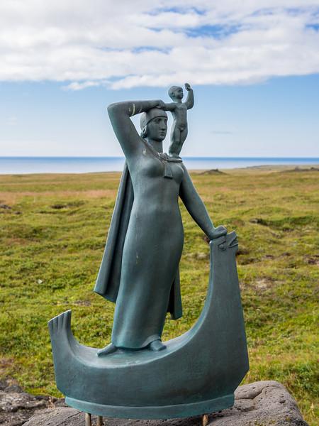 Statue of Guðríður Thorbjarnardóttir the Far-Traveller, mother of the first European born in the Americas
