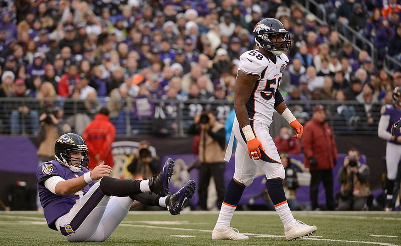 . Baltimore Ravens quarterback Joe Flacco (5) sits on the turf after getting hit by Denver Broncos outside linebacker Von Miller (58) in the third quarter Sunday, December 16, 2012 at M&T Bank Stadium. John Leyba, The Denver Post