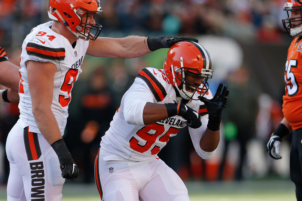 . Cleveland Browns defensive end Myles Garrett (95) celebrates after sacking Cincinnati Bengals quarterback Andy Dalton in the first half of an NFL football game, Sunday, Nov. 26, 2017, in Cincinnati. (AP Photo/Gary Landers)