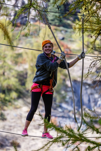Annika completing the ropes course