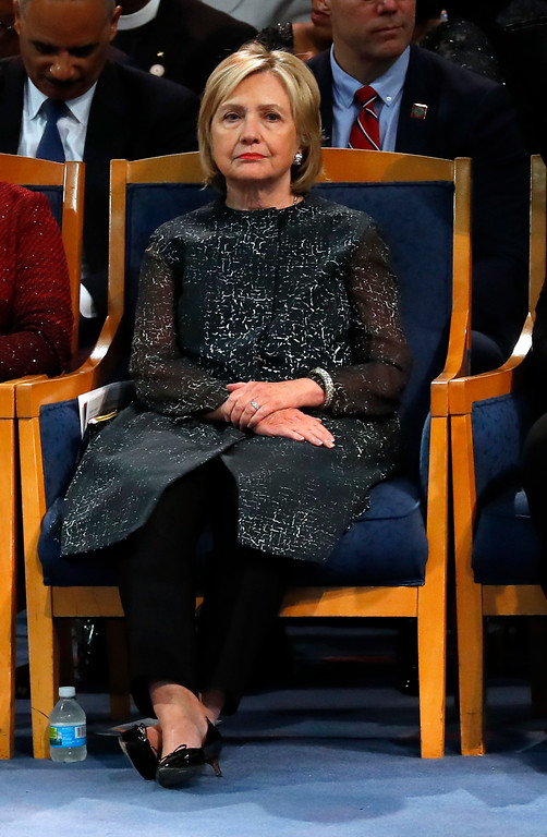 . Hillary Clinton attends the funeral service for Aretha Franklin at Greater Grace Temple, Friday, Aug. 31, 2018, in Detroit. Franklin died Aug. 16, 2018 of pancreatic cancer at the age of 76. (AP Photo/Paul Sancya)