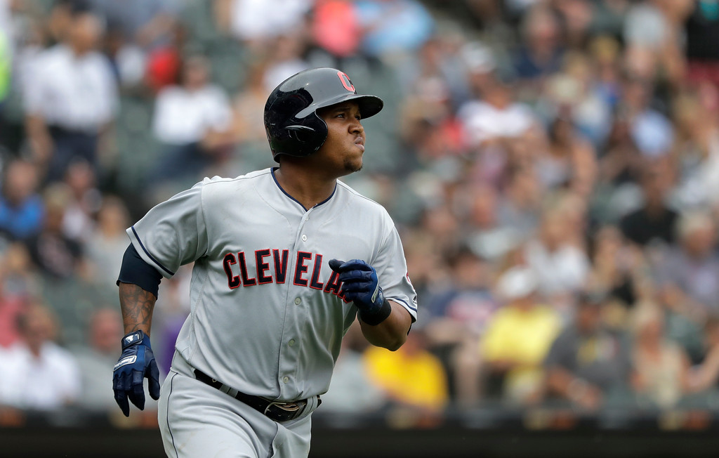 . Cleveland Indians\' Jose Ramirez watches his two-run home run off Chicago White Sox relief pitcher Chris Volstad during the seventh inning of a baseball game Thursday, June 14, 2018, in Chicago. Francisco Lindor also scored. (AP Photo/Charles Rex Arbogast)