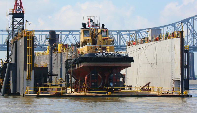 The tugboat Admiral Jackson was in dry dock.