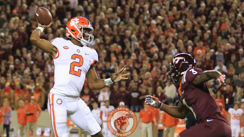 Clemson QB Kelly Bryant winds up to throw as Greg Stroman pressures him. (Mark Umansky/TheKeyPlay.com)