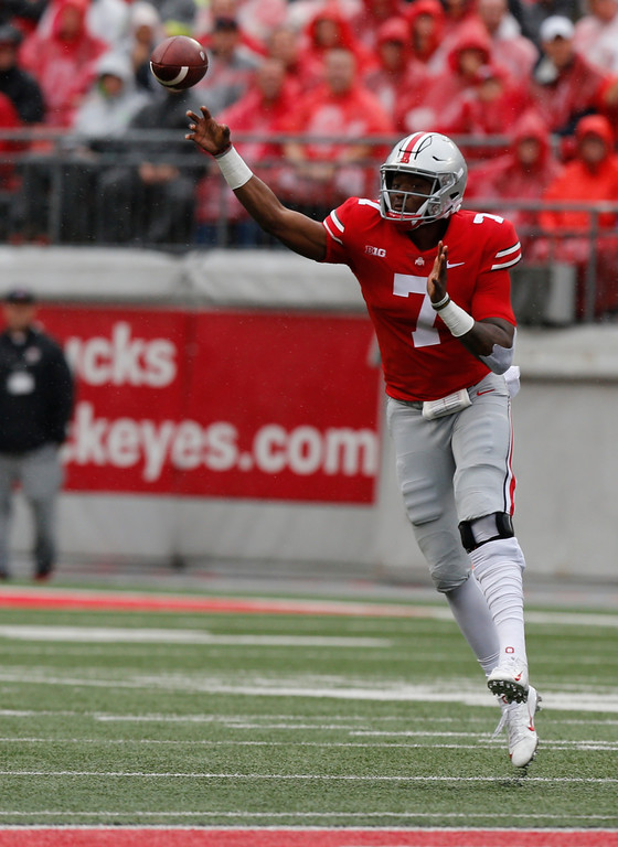 . Ohio State quarterback Dwayne Haskins throws a pass against Rutgers during the first half of an NCAA college football game Saturday, Sept. 8, 2018, in Columbus, Ohio. (AP Photo/Jay LaPrete)
