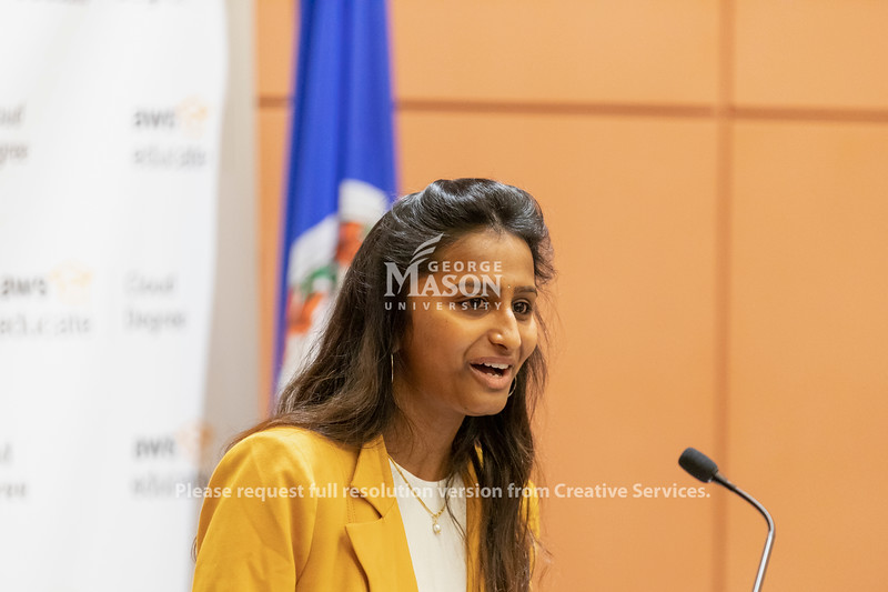 George Mason University senior Dolica Gopisetty speaks at an Amazon Web Services cloud computing degree launch event. Photo by Lathan Goumas/Office of Communications and Marketing   Photo Taken:Friday, September 20, 2019