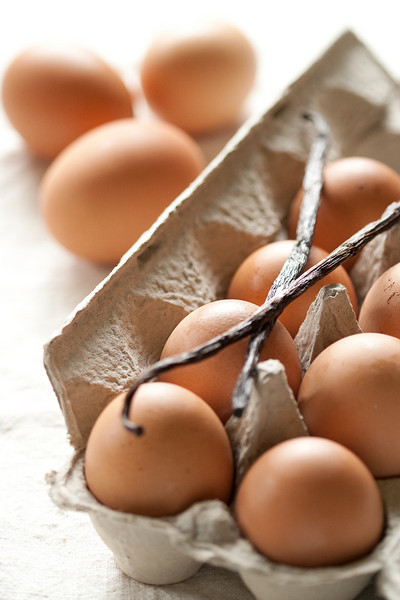 Eggs and vanilla beans.