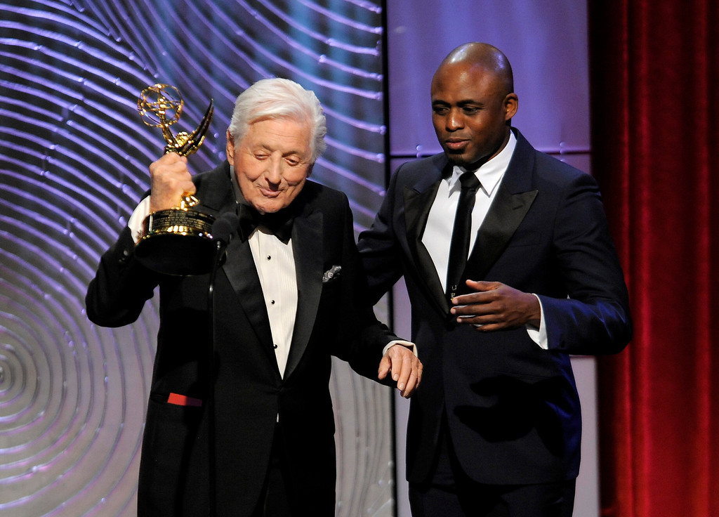 . Wayne Brady, right, presents the lifetime achievement award to Monty Hall at the 40th Annual Daytime Emmy Awards on Sunday, June 16, 2013, in Beverly Hills, Calif. (Photo by Chris Pizzello/Invision/AP)