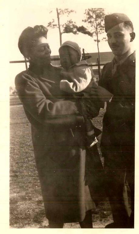 Maelois Stewart, James E. Stewart Jr. and a Marine friend.  Montford Point Camp.