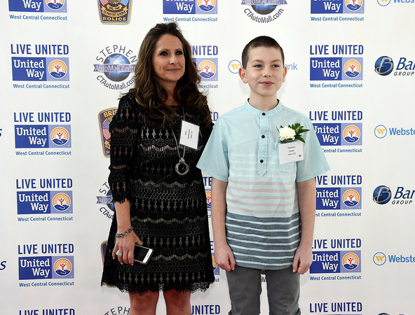 4/5/018 Mike Orazzi   Staff Amy Campisano and Dominic Caves during the United Way of West Central Connecticut's 16th Annual Community Builders' Reception Thursday night.