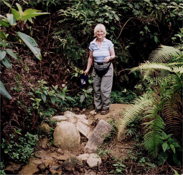 Wendy trekking in the mountains near Sapa