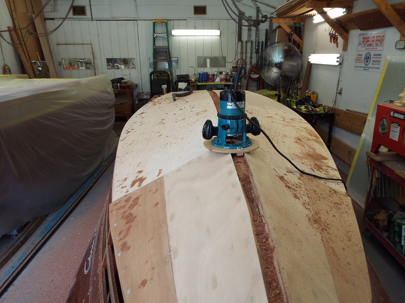 Routing a space for the keel cap.