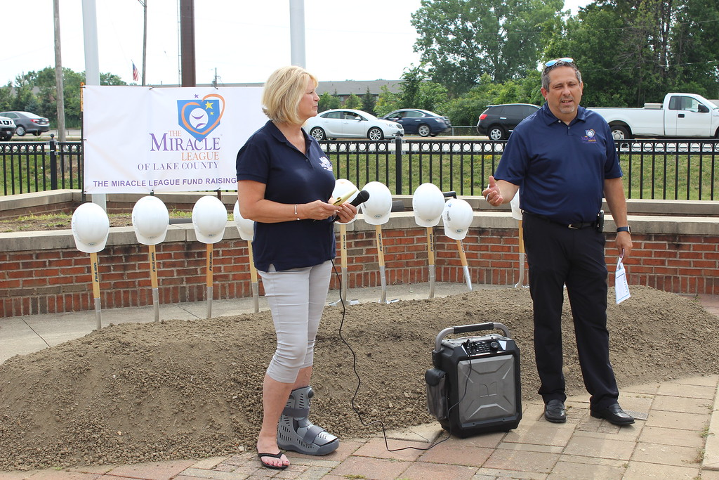 . Tawana Roberts � The News-Herald <br> Eastlake Mayor Dennis Morley and Miracle League Board of Directors President Judy Moran speak at the ground-breaking ceremony at Classic Park in Eastlake on July 6, 2017.