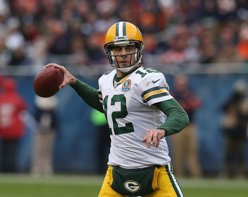 . Aaron Rodgers #12 of the Green Bay Packers throws a pass against the Chicago Bears at Soldier Field on December 16, 2012 in Chicago, Illinois. (Photo by Jonathan Daniel/Getty Images)